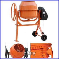 120L Electric Feed Concrete Mixer Cement Plaster Mortar Construction Work Wheels