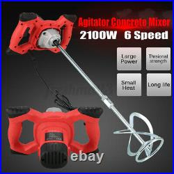 2100W Drywall Mortar Mixer Cement Render Paint Tile Concrete Plaster Rotary