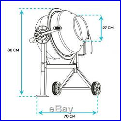 Concrete Mixer 70L 275W 220V Kneading Electric Mixer Cement With Two Wheels
