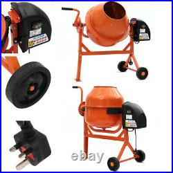 Portable Electric Concrete Cement Mixer Mortar Plaster Mixer Tools with 2 Wheels