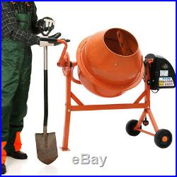 Portable Electric Steel Cement Mixer With Wheel Mortar Concrete 63L UK Plug 220V